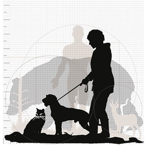 Woman with dog in leash and cat. Bear, deer, and the body of a man standing. Black and white three-dimensional picture.