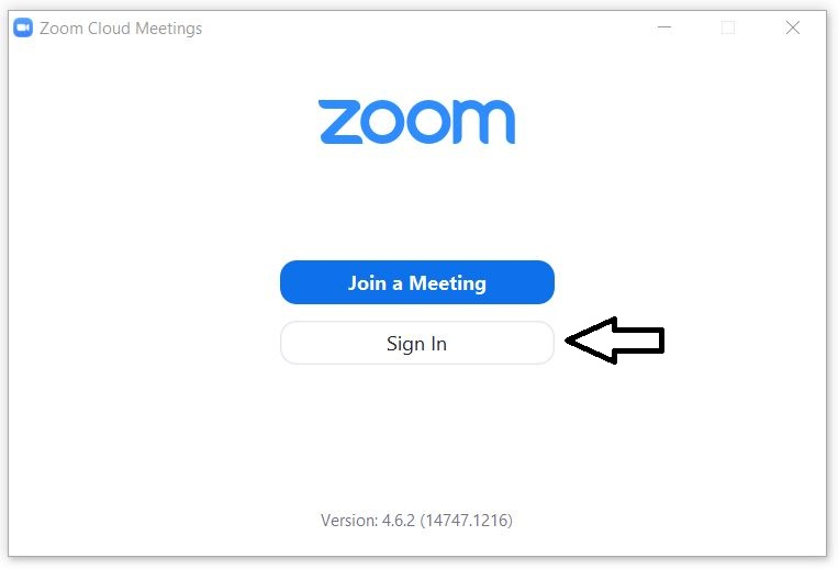 Zoom client log in