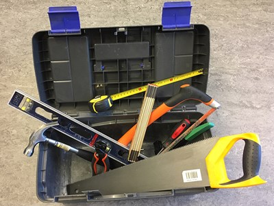 Toolbox with various tools, photo.